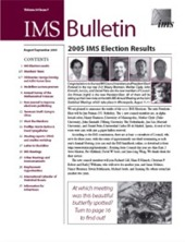 IMS Bulletin 34(7) cover image