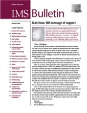 IMS Bulletin 34(8) cover image