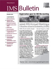 IMS Bulletin 34(10) cover image