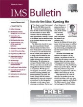 IMS Bulletin 36(1) cover image