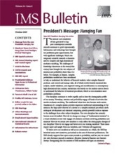 IMS Bulletin 36(8) cover image