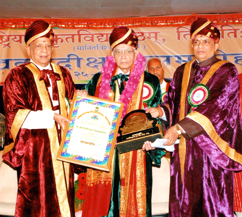 C.R. Rao (centre) receives his 36th honorary degree, at the International  Sanskrit University, in Tirupati, India