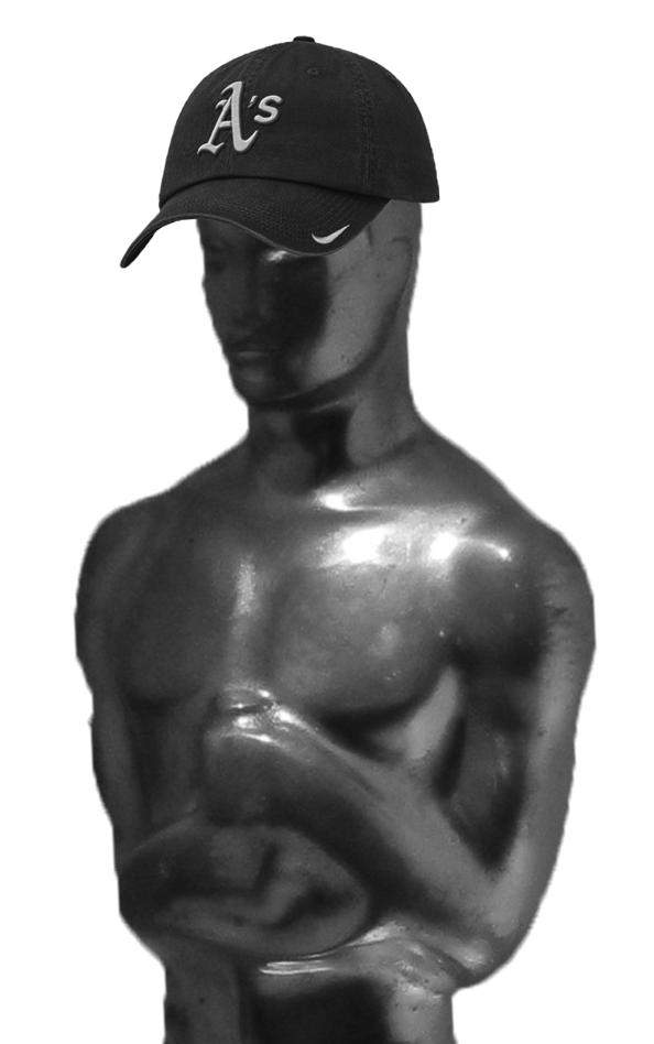 Oscar statuette in an Oakland Athletics baseball cap