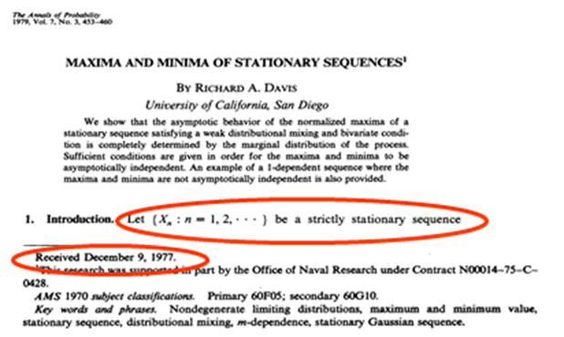 Richard's first paper, in the Annals of Probability in 1979