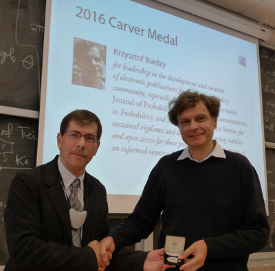 Krzysztof (Chris) Burdzy received the Carver Medal this year from Richard Davis