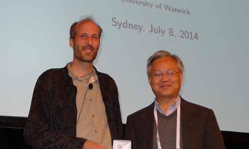 Martin Hairer (left) gave a Medallion Lecture